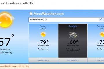 Weather Forecast Hendersonville and Nashville Tn April 24 2014