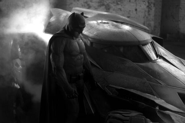 """Ben Affleck as Batman, Batmobile Revealed in First Official Photo From """"Man of Steel"""" Sequel via twitter"""