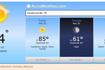 Weather Forecast Hendersonville and Nashville Tn May 20 2014