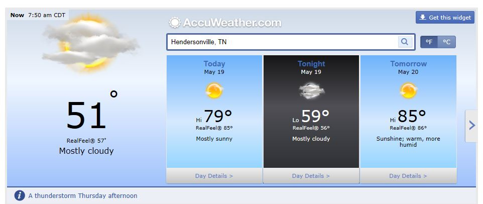 Middle Tennessee Weather Forecast including Nashville and Hendersonville Tn May 19 2014