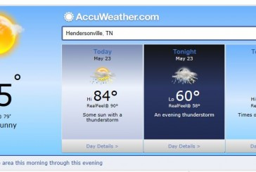 Weather Forecast Hendersonville and Nashville Tn May 23 2014