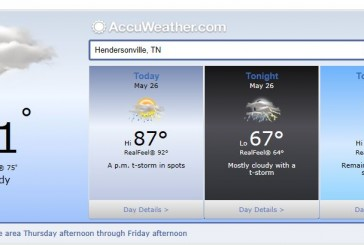 Weather Forecast Hendersonville and Nashville Tn May 26 2014