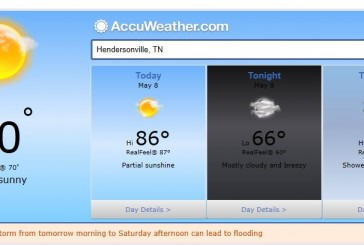 Weather Forecast Hendersonville and Nashville Tn May 8 2014