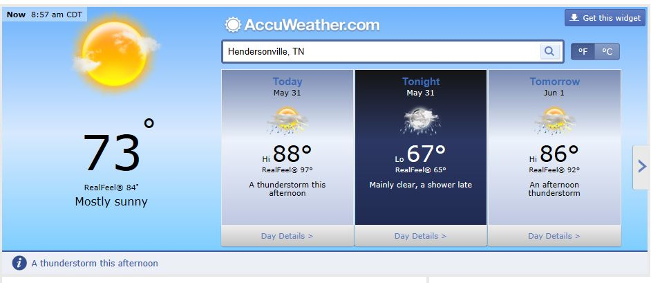 Weather Forecast Hendersonville and Nashville Tn May 31 2014
