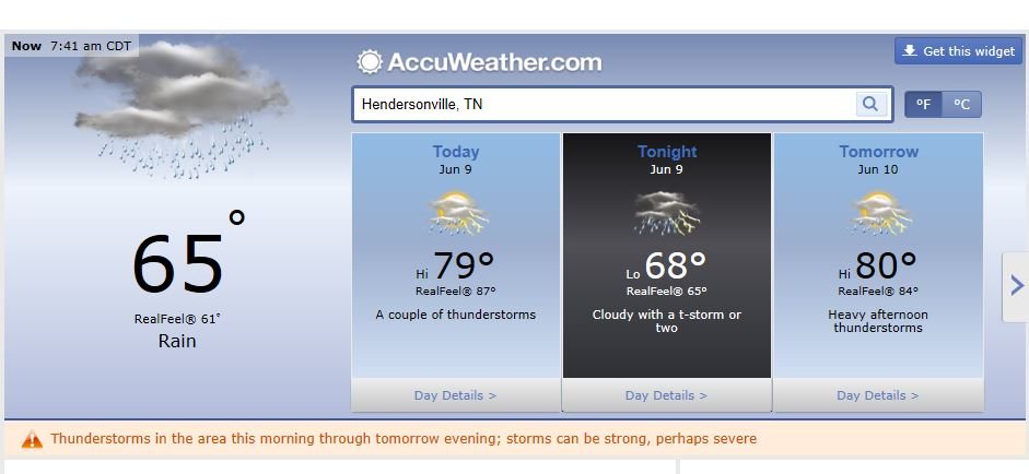 Weather Forecast Hendersonville Tn including Nashville and Middle Tennessee june 9 2014