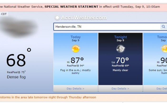 Hendersonville Tn Weather Forecast September 9 2014