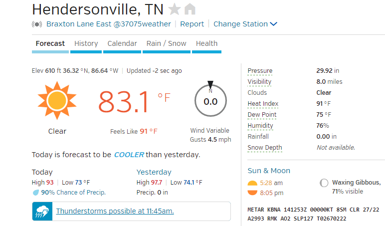 Hendersonville weather forecast 61416