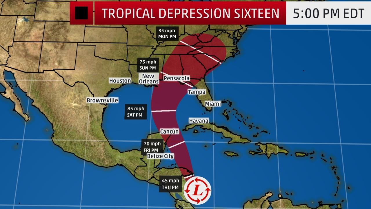 tropical depression sixteen forecast to hit u s  gulf