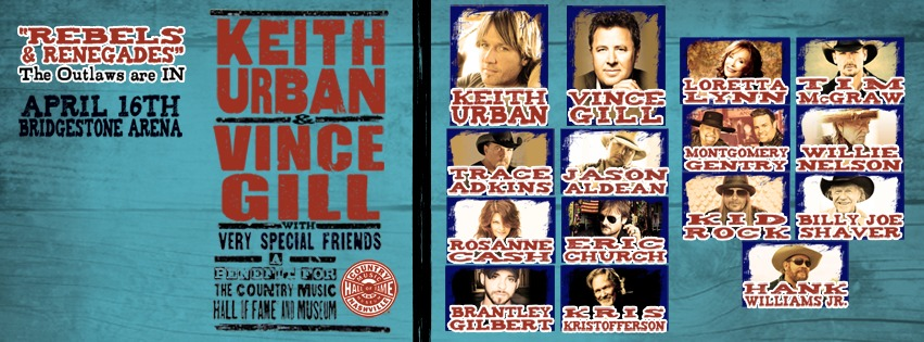 Keith Urban and Vince Gill We're All 4 The Hall at the Bridgestone Arena in Nashville
