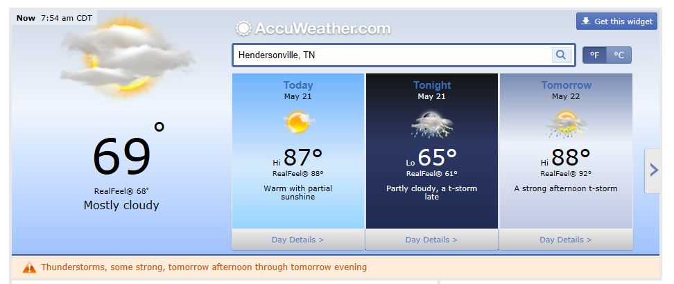 Weather Forecast hendersonville tn may 21 2014