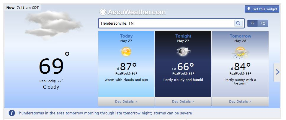 weather forecast Hendersonville Tn May 27 2014