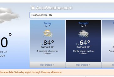 Weather Forecast Hendersonville, Nashville and Middle Tennessee June 5 2014
