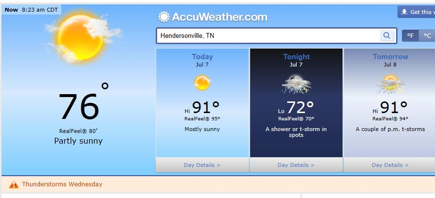 Hendersonville Tennessee Weather